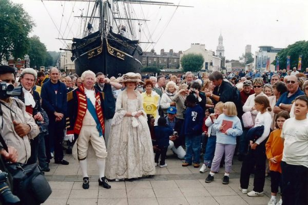"Alan Coren portraying King George III during the ""A Celebration of Time"" Pageant at Greenwich."